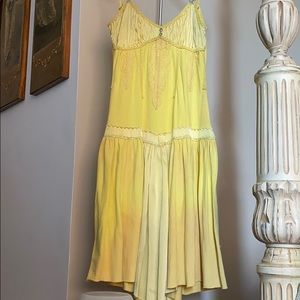 Hand dyed Yellow cotton and silk dress